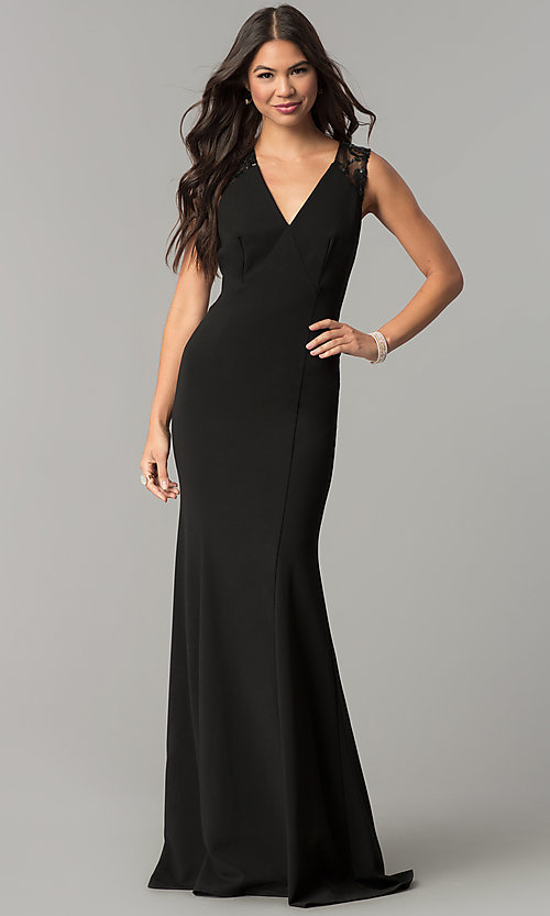 Image of long v-neck empire-waist prom dress with sequins. Style: MCR-2229 Front Image