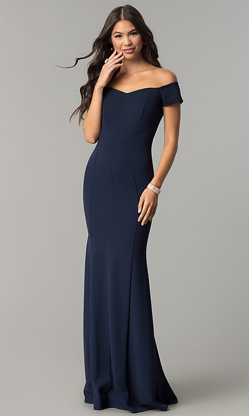 Image of long off-the-shoulder banded mermaid prom dress. Style: MCR-2251 Front Image