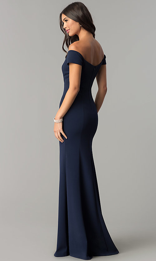 Image of long off-the-shoulder banded mermaid prom dress. Style: MCR-2251 Back Image