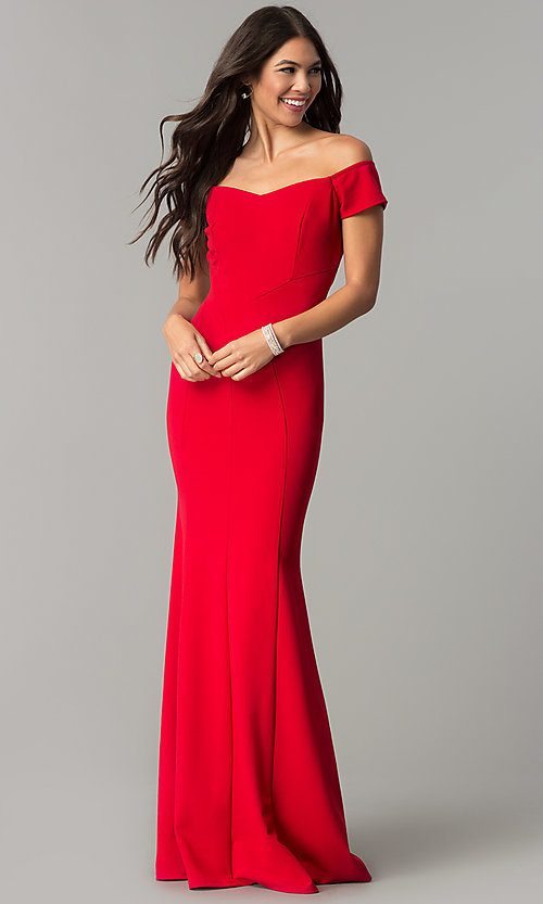 Image of long off-the-shoulder banded mermaid prom dress. Style: MCR-2251 Detail Image 2
