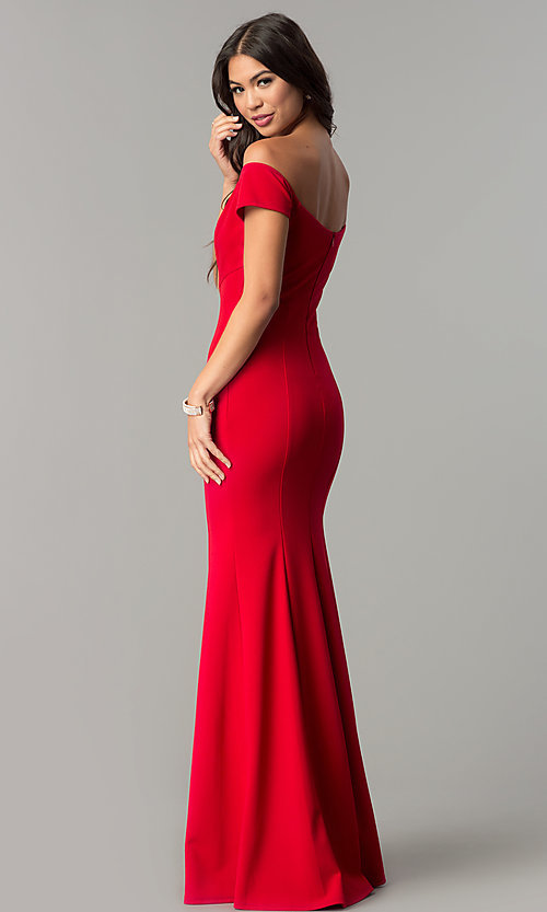 Image of long off-the-shoulder banded mermaid prom dress. Style: MCR-2251 Detail Image 3
