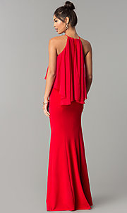 Image of long high-neck chiffon prom dress with popover ruffle. Style: MCR-2472 Back Image