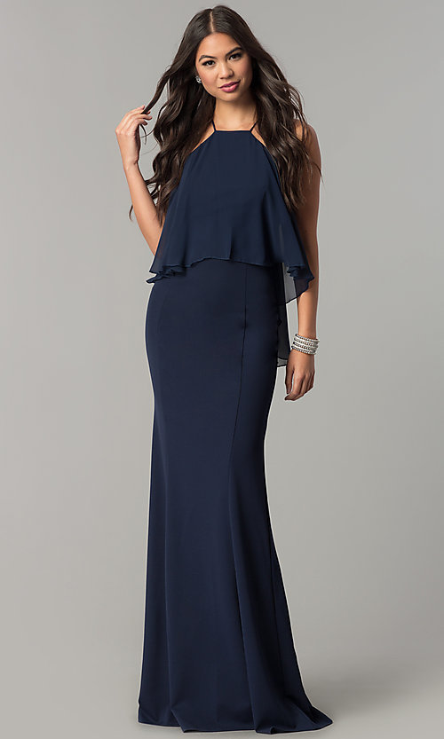 Image of long high-neck chiffon prom dress with popover ruffle. Style: MCR-2472 Front Image