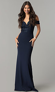 Off-the-Shoulder Lace-Bodice Long Prom Dress