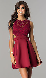 Image of burgundy open-back lace-bodice short homecoming dress. Style: DC-44536B Front Image