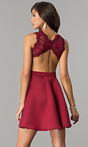 Image of burgundy open-back lace-bodice short homecoming dress. Style: DC-44536B Back Image