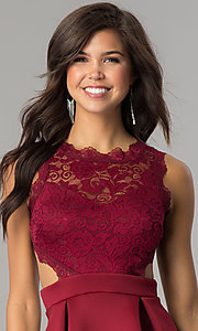 Image of burgundy open-back lace-bodice short homecoming dress. Style: DC-44536B Detail Image 1
