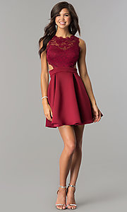 Image of burgundy open-back lace-bodice short homecoming dress. Style: DC-44536B Detail Image 2