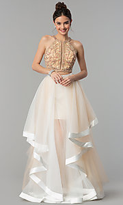 Image of two-piece long prom dress with tiered skirt. Style: TI-GL-1711P2416 Front Image