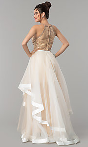 Image of two-piece long prom dress with tiered skirt. Style: TI-GL-1711P2416 Back Image