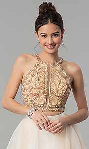 Image of two-piece long prom dress with tiered skirt. Style: TI-GL-1711P2416 Detail Image 1