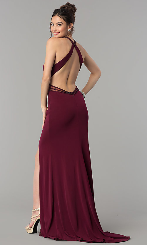 Image of high-neck open-back Glamour by Terani prom dress. Style: TI-GL-1715P3827 Back Image