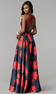 Image of floral-print open-back a-line satin prom dress. Style: TI-GL-1715P3828 Back Image