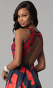 Image of floral-print open-back a-line satin prom dress. Style: TI-GL-1715P3828 Detail Image 2