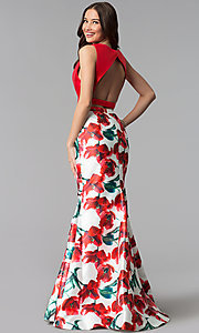 Image of bateau-neck floral-print mermaid prom dress. Style: TI-GL-1712P2754 Back Image