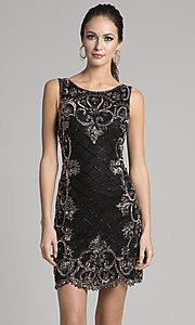 Short Beaded Black Bateau-Neck Homecoming Dress