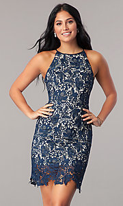 Image of short navy blue lace homecoming party dress. Style: MT-8653 Front Image