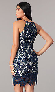 Image of short navy blue lace homecoming party dress. Style: MT-8653 Back Image