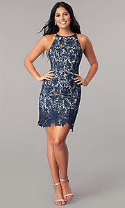 Image of short navy blue lace homecoming party dress. Style: MT-8653 Detail Image 1