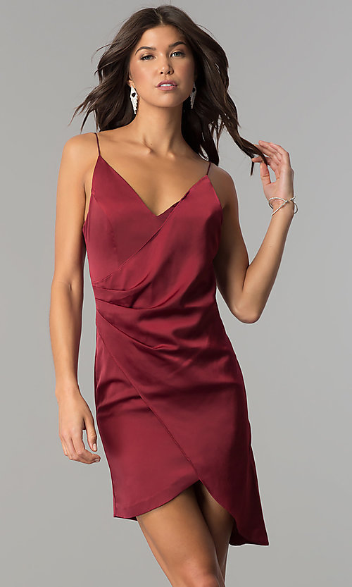 Image of burgundy red short mock-wrap homecoming party dress. Style: MT-8868 Front Image
