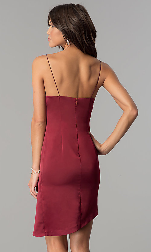 Image of burgundy red short mock-wrap homecoming party dress. Style: MT-8868 Back Image