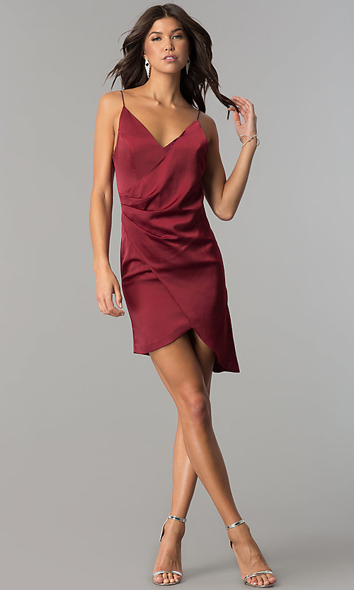 Image of burgundy red short mock-wrap homecoming party dress. Style: MT-8868 Detail Image 1