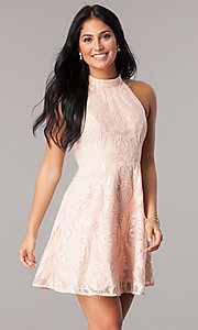 Image of high-neck short homecoming dress in blush pink. Style: MT-8310-1 Front Image