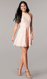 Image of high-neck short homecoming dress in blush pink. Style: MT-8310-1 Detail Image 1