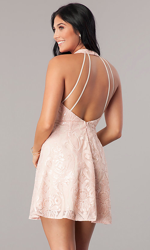 Image of high-neck short homecoming dress in blush pink. Style: MT-8310-1 Back Image