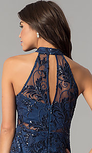 Image of navy blue high-neck embroidered-mesh party dress. Style: MT-8941 Detail Image 2