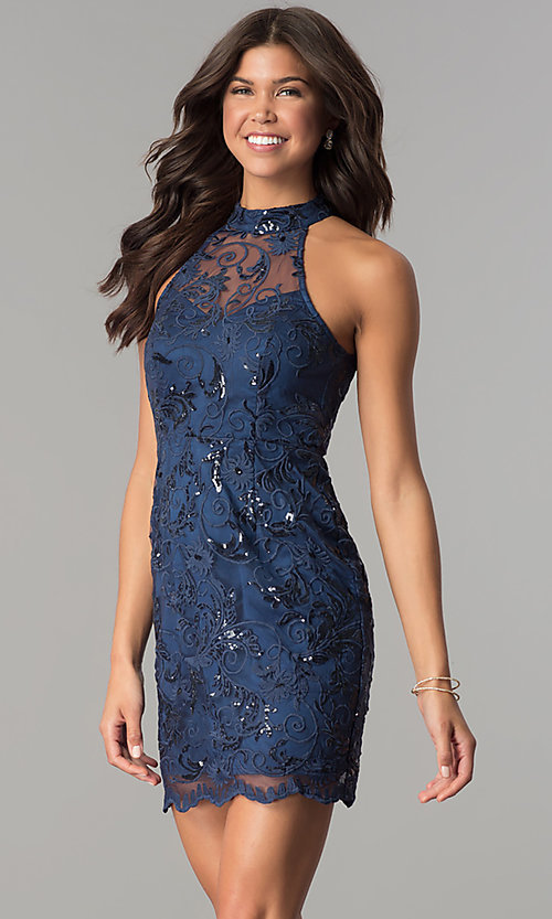 Image of navy blue high-neck embroidered-mesh party dress. Style: MT-8941 Front Image
