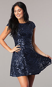 Image of sequin navy blue homecoming dress with short sleeves. Style: MT-8337 Front Image