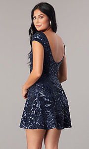 Image of sequin navy blue homecoming dress with short sleeves. Style: MT-8337 Back Image