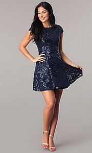 Image of sequin navy blue homecoming dress with short sleeves. Style: MT-8337 Detail Image 1