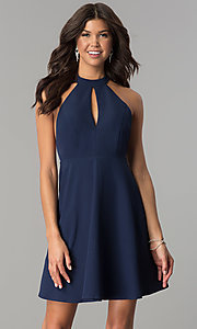 Image of navy blue short party dress with lace t-back. Style: MT-8837 Front Image