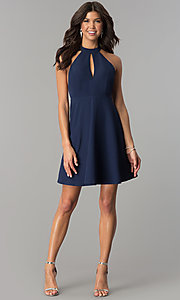 Image of navy blue short party dress with lace t-back. Style: MT-8837 Detail Image 3