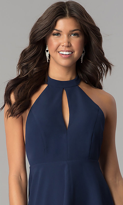 Image of navy blue short party dress with lace t-back. Style: MT-8837 Detail Image 1