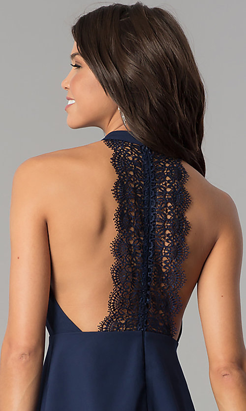 Image of navy blue short party dress with lace t-back. Style: MT-8837 Detail Image 2