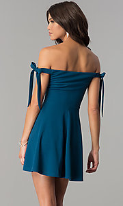 Image of off-the-shoulder short teal blue homecoming dress. Style: MT-8851 Back Image