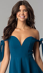 Image of off-the-shoulder short teal blue homecoming dress. Style: MT-8851 Detail Image 1
