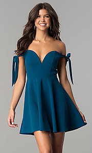 Off-the-Shoulder Short Teal Blue Homecoming Dress