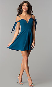 Image of off-the-shoulder short teal blue homecoming dress. Style: MT-8851 Detail Image 2
