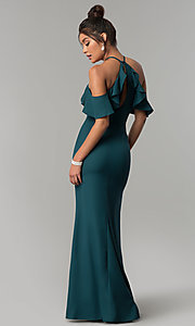 Image of long off-the-shoulder ruffled teal green prom dress. Style: MT-8926 Back Image