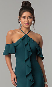 Image of long off-the-shoulder ruffled teal green prom dress. Style: MT-8926 Detail Image 1
