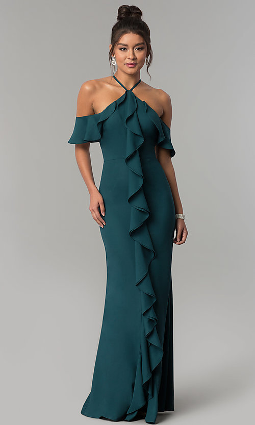 Image of long off-the-shoulder ruffled teal green prom dress. Style: MT-8926 Front Image