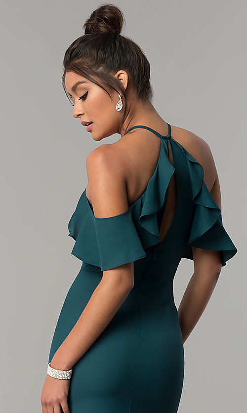 Image of long off-the-shoulder ruffled teal green prom dress. Style: MT-8926 Detail Image 2