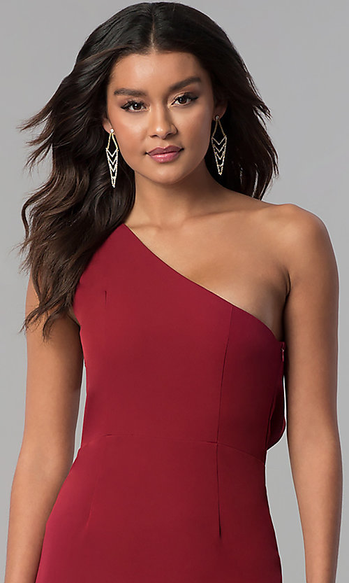 Image of long one-shoulder prom dress with back ruffles. Style: MT-8819 Detail Image 1