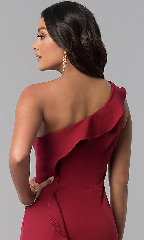 Image of long one-shoulder prom dress with back ruffles. Style: MT-8819 Detail Image 2