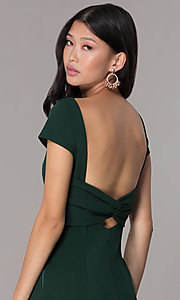 Image of long navy short-sleeve prom dress with open back. Style: MT-8880 Detail Image 2