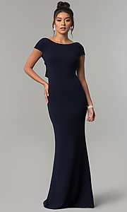 Image of long navy short-sleeve prom dress with open back. Style: MT-8880 Detail Image 3
